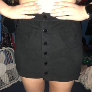 Suade black button up skirt